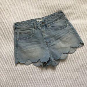 Scalloped Jean shorts
